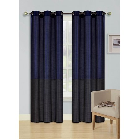 1pc NAVY BLUE BLACK (EID) LINED FOAM BACKING BLACKOUT  Faux Silk Drape Panel Top Chrome Metallic Grommet Window Curtain Treatment Drape 2 Shade 37 wide x 84 length