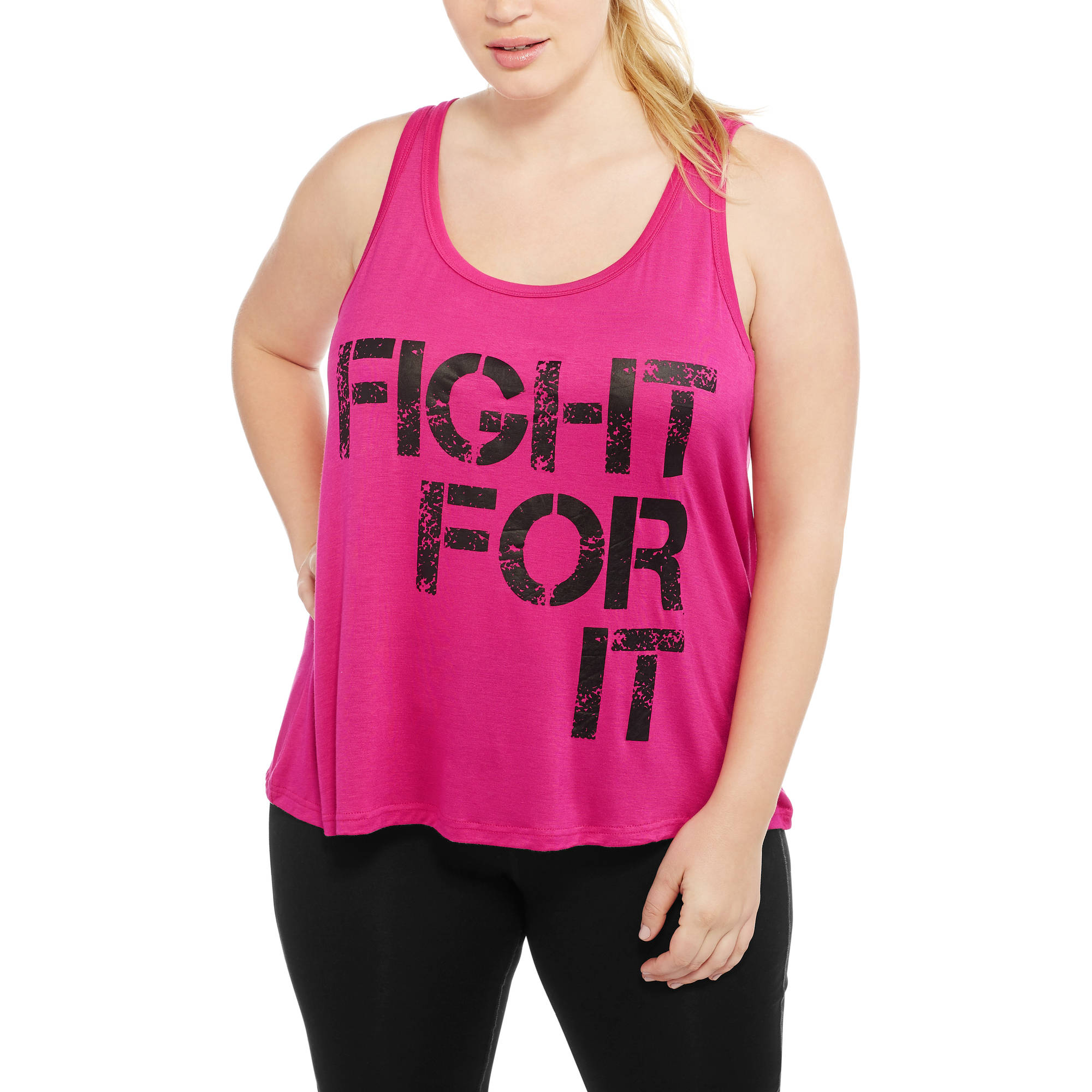 Women's Plus Fitspiration Active Graphic 'Fight For It' Racerback Tank