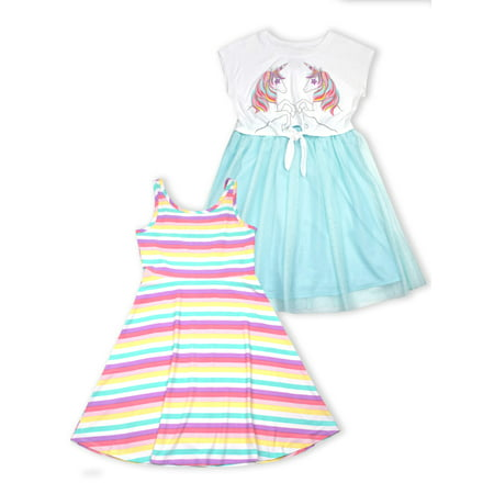 Clothes From The 70s (p.s.09 from aeropostale Unicorn Tie Front Tulle and Jersey Skater Dresses, 2-Pack (Little Girls & Big)