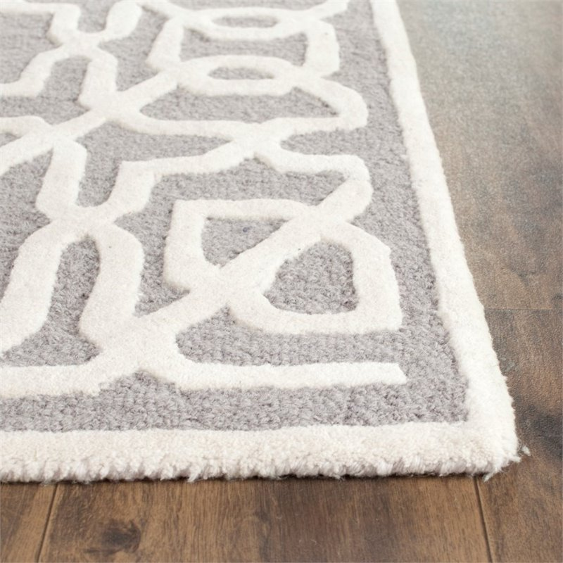 Safavieh Cambridge 6' X 9' Hand Tufted Wool Rug in Silver and Ivory - image 5 de 10