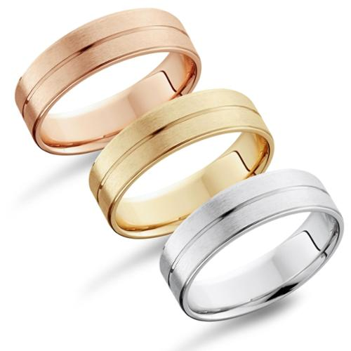 Bliss 14k Gold Men's Flat 6mm Brushed Wedding Band Rose, Size 10