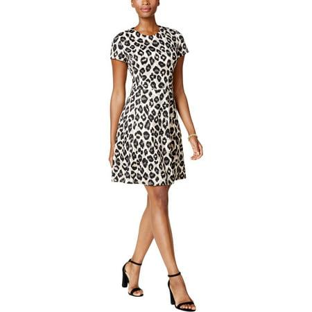 bcc7e9f75b44a Jessica Howard - Jessica Howard Womens Petites Cheetah Print Fit & Flare  Party Dress - Walmart.com