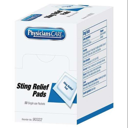 PHYSICIANSCARE 90322G Sting Relief, Box, PK50