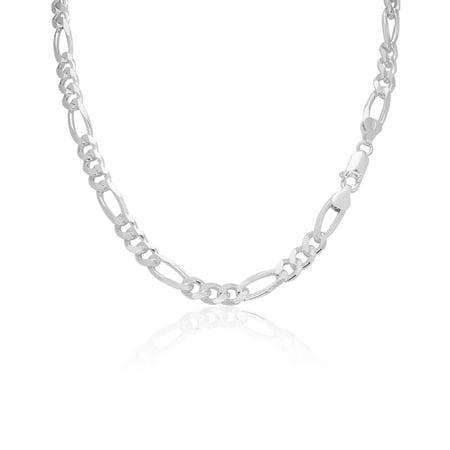 Men's 6.5mm 180 Gauge Figaro Chain Solid .925 Sterling Silver Bracelet , 7