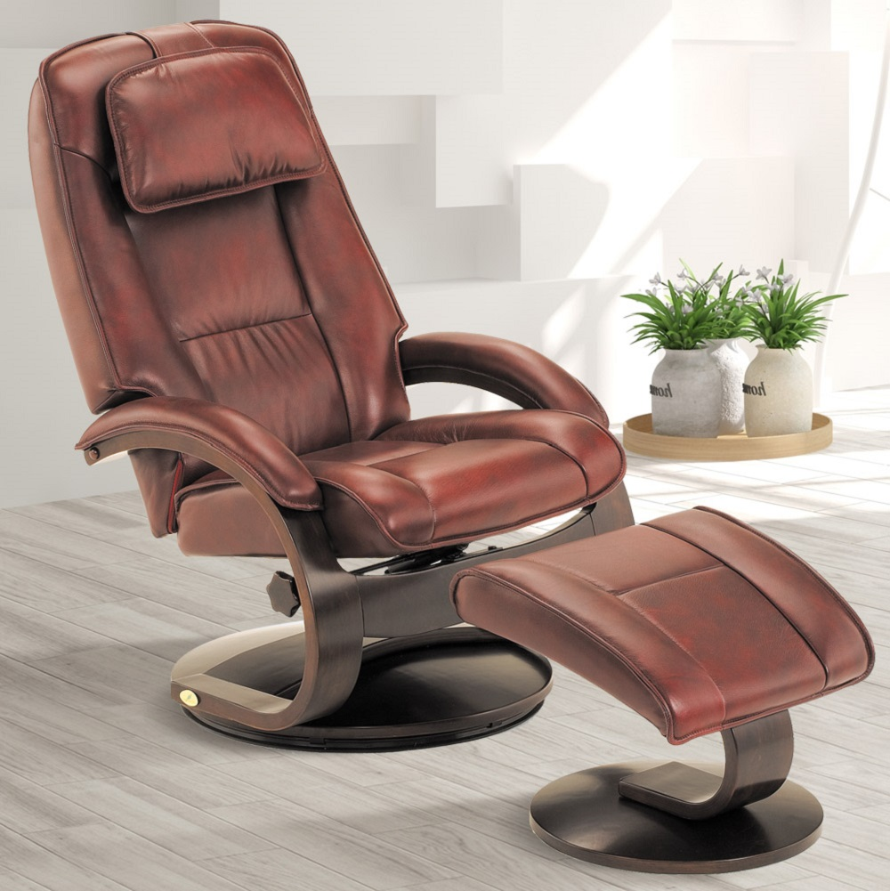 Oslo Collection by Mac Motion Bergen Recliner and Ottoman in Merlot Top Grain Leather