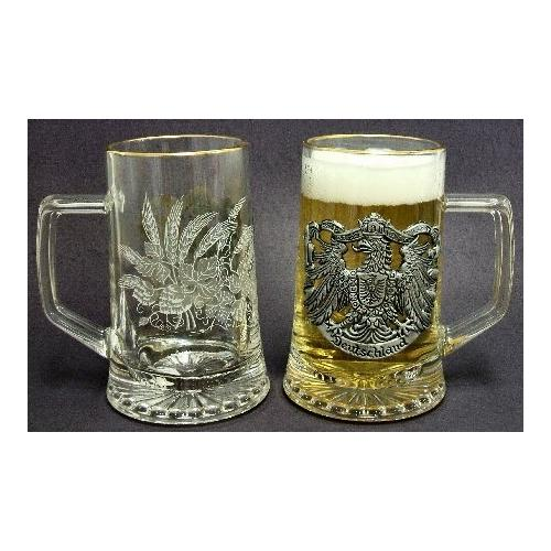 Zoeller & Born German Glass Beer Mug with Pewter Eagle Decor