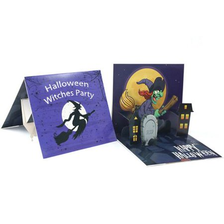 Halloween Cards Made With Cricut (Fancyleo 1PC Halloween 3D Greeting Cards Scary Stereoscopic Specter Cards Horror Handmade Halloween Invitation Card Halloween)