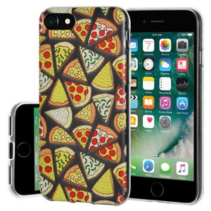iPhone 7 Case, Soft Gel Clear TPU Back Case Impact Defender Skin Cover for iPhone 7 - Modern Pizza Print