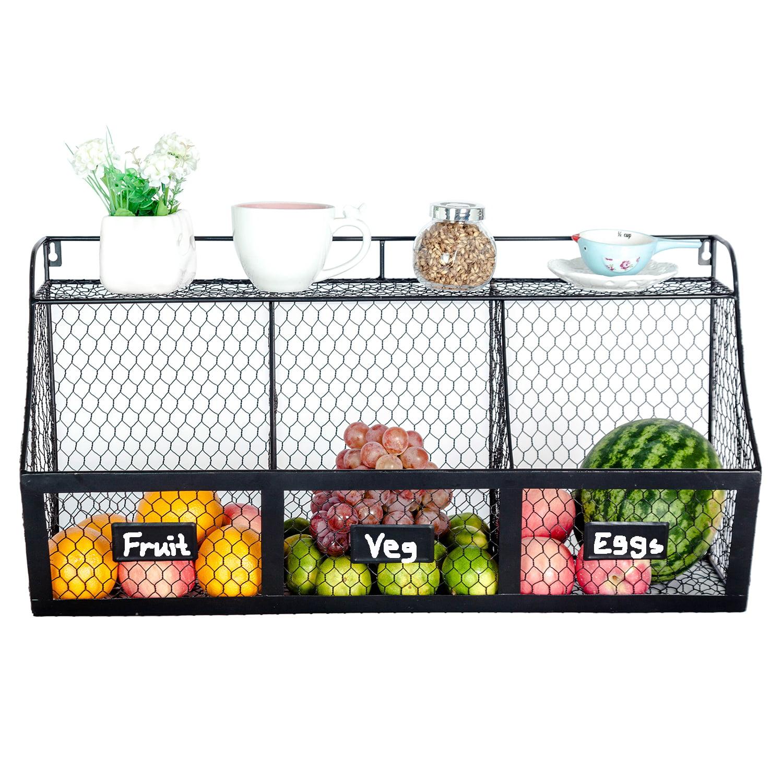 3 Compartment Kitchen Basket Large Wall Mount Metal Storage Hanging Fruit Organizer Produce Wire Baskets Rack Bin Black Walmart Com Walmart Com