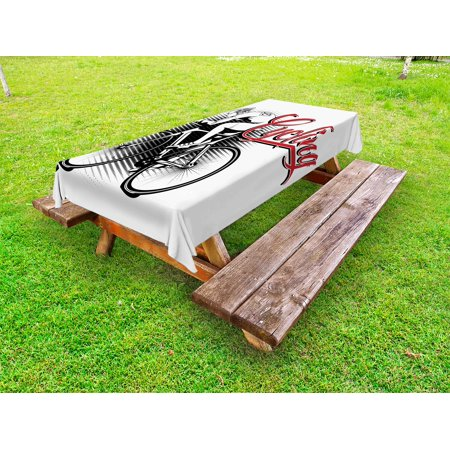 Sports Outdoor Tablecloth, Cycling Man Illustration Dotted Setting Biking Athletics Human Powered Vehicle, Decorative Washable Fabric Picnic Tablecloth, 58 X 104 Inches, Black White Red, by - Black White And Red Table Settings