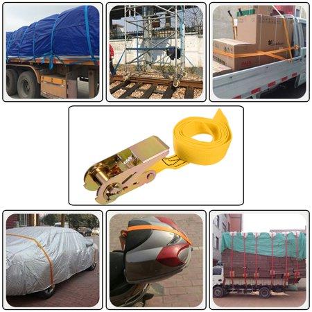 1.5Mx25mm Ratchet Tie Down Strap Cargo Lashing Straps Up to 250Kg, Yellow, 2Pcs - image 4 de 5