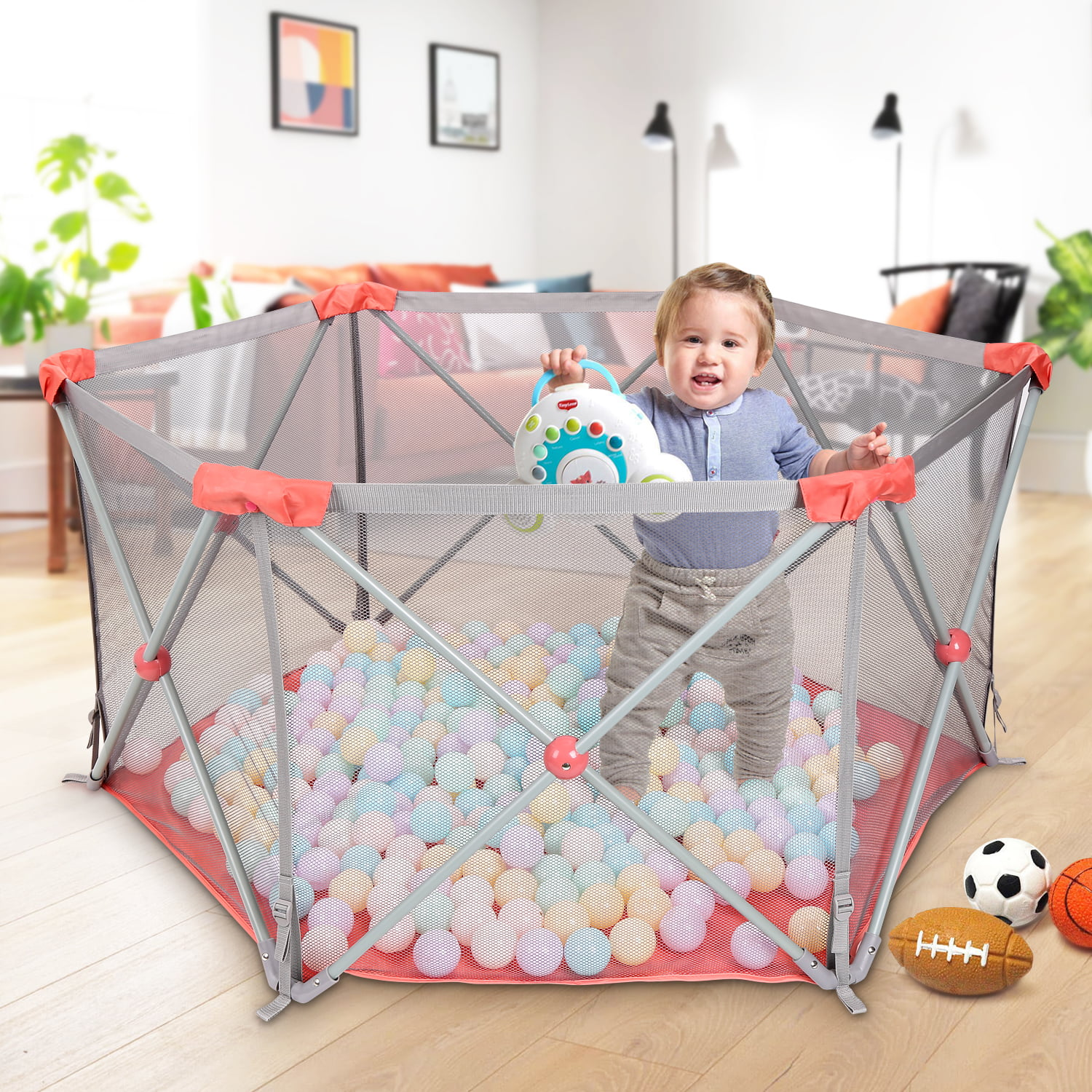 Childrens Play Fence Portable Child Playpen Rectangle Toddlers Play Yard with Door Activity Center Child Play Game Fence Anti-Fall Play Pen,Safe and Secure Color : Red