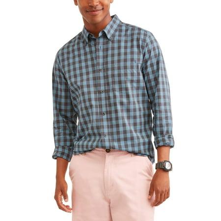 Men's Long Sleeve Stretch Poplin Shirt, Up to Size 5XL