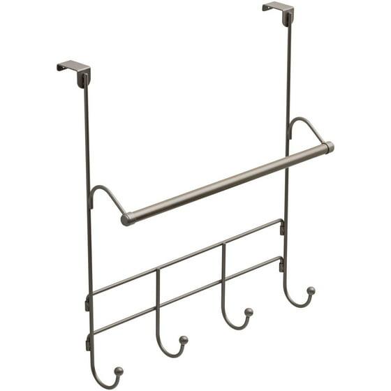 Average Height Of Towel Bar In Bathroom: Mainstays Over The Door Towel Rack With Hooks