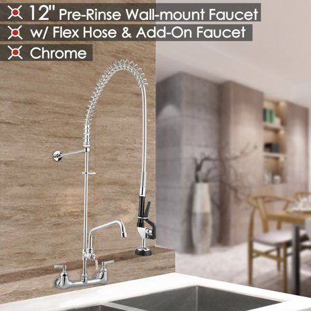 Handle Wall Mount Faucet (Aquaterior Commercial Wall Mount Kitchen Faucet Double Handle Brass Pre-Rinse Chromed w/ 12