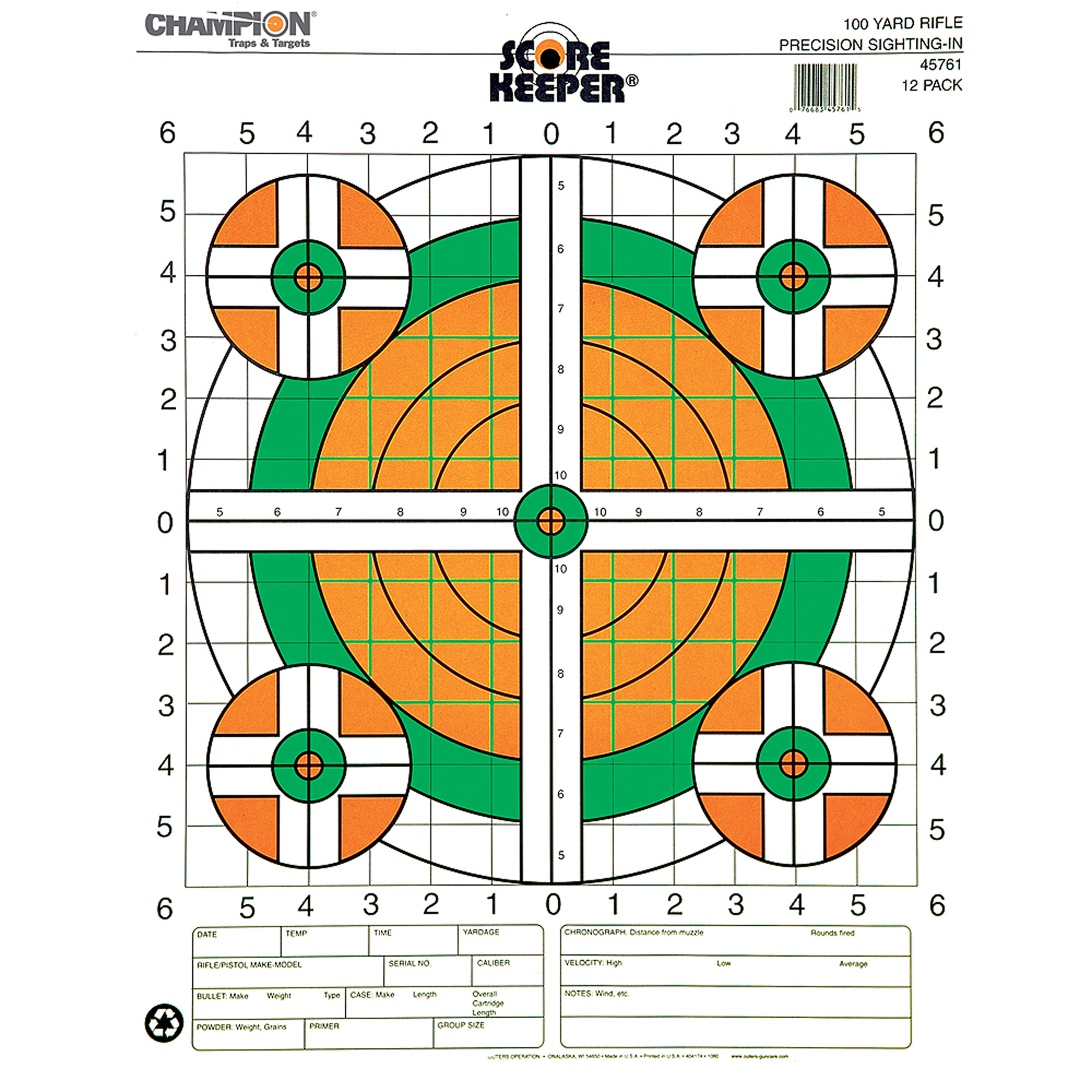 Champion Traps and Targets Fluorescent Orange/Green Bullseye Scorekeeper Target, 100 Yard Rifle Sight-In, 12pk