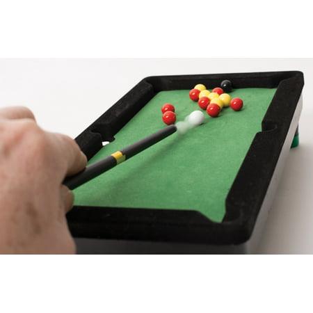 desktop miniature pool table set with mini pool balls and cue sticks. Black Bedroom Furniture Sets. Home Design Ideas