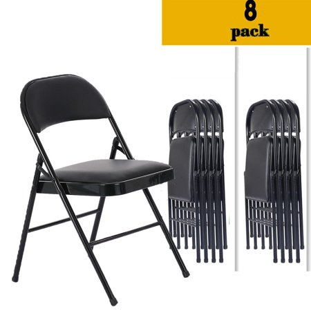 Zimtown 8 PACK Folding Chair Fabric Upholstered Padded Seat Metal Frame Home Office