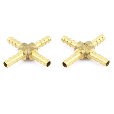 Unique Bargains 2 x Cross Connector 4 Way Fuel Hose Joiner for Compressed Air Gas Oil - Compressed Air Straight Connector