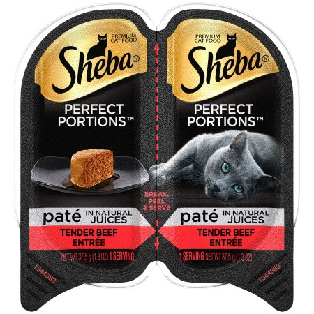(12 Pack) Sheba Perfect Portions Pate In Natural Juices Tender Beef Grain Free Wet Cat Food 2.6 Ounces (1 Twin Pack)