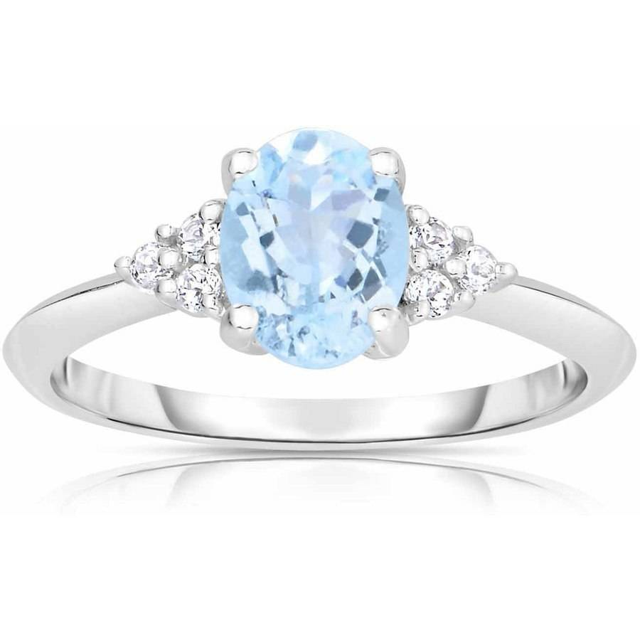Genuine Aquamarine and White Topaz 10kt White Gold Ring by Quality Color Design