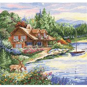 "Tobin Lakeside Cabin Counted Cross-Stitch Kit, 15"" x 15"", 14 Count"