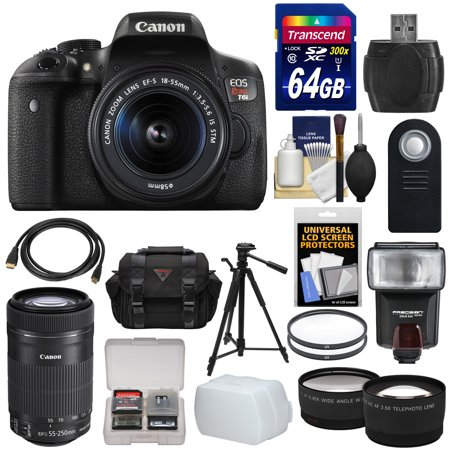 Canon EOS Rebel T6i Wi-Fi Digital SLR Camera & 18-55mm & 55-250mm IS STM Lens with 64GB Card + Case + Filters + Tripod + Flash + Tele/Wide Lens Kit