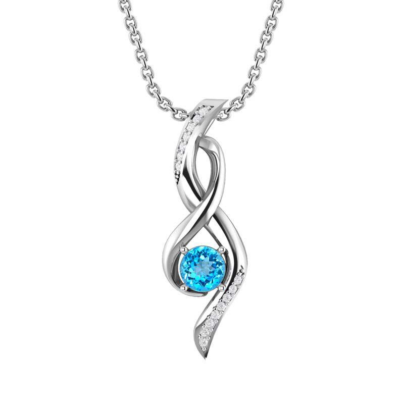 """Sterling Silver Infinity Necklace with 10mm Garnet and 18"""" Singapore Chain by Sterlyn Silver"""