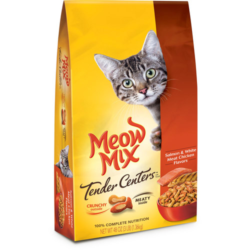 Meow Mix Tender Centers Salmon & White Meat Chicken Flavors Dry Cat Food, 3-Pound