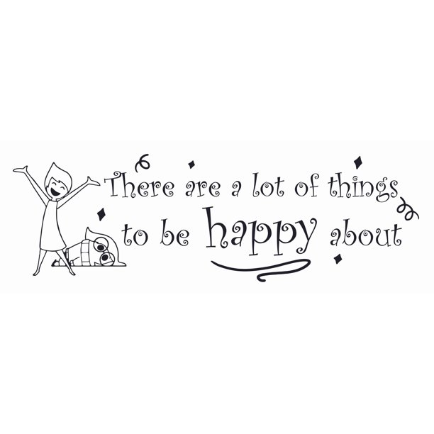"Sadness And Joy Inside Out Movie Quote Wall Decal - 7"" x 20"" Removable Stick And Peel Vinyl Adhesive Walt Disney Home Decoration DIY Kids Bedroom Sticker 