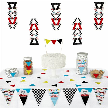 Let's Go Racing - Racecar - Triangle Race Car Birthday Party or Baby Shower Decoration Kit - 72 Piece - Cars Birthday Party
