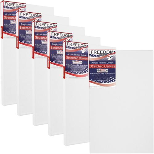 US Art Supply 8 X 16 inch Professional Quality Acid Free Stretched Canvas 6-Pack - 3/4 Profile 12 Ounce Primed Gesso