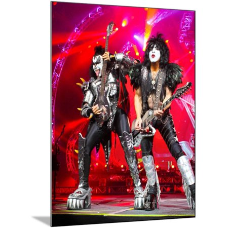KISS - 40th Anniversary Tour Live - Simmons and Stanley Heavy Metal Rock Music Gene Simmons and Paul Stanley Concert Photo Wood Mounted Poster Wall Art By Epic Rights