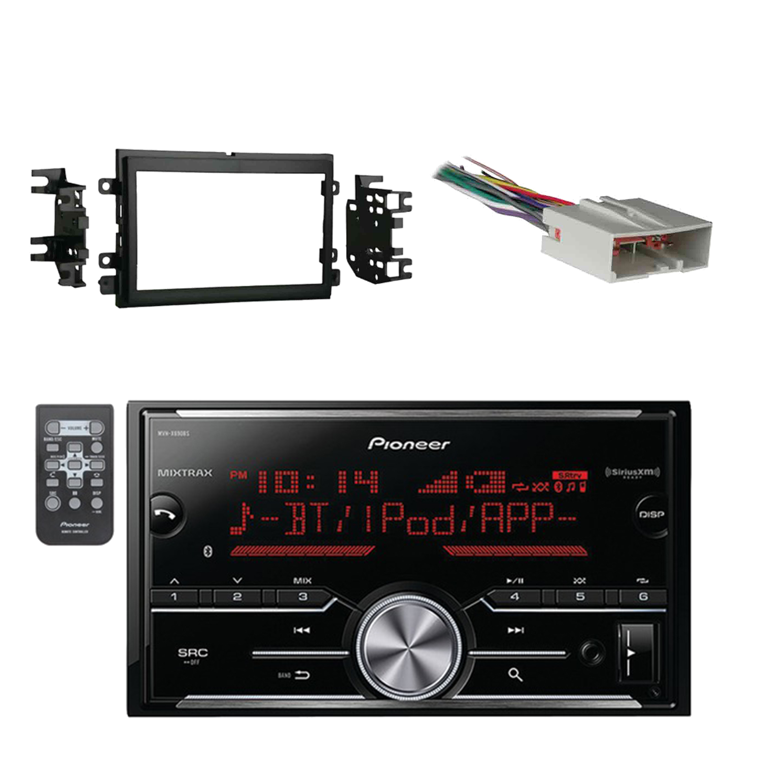 Pioneer Vehicle Digital Media 2DIN Receiver with Bluetooth Enhanced Audio Functions, Black with Metra Double DIN Installation Kit for Select 2004-2006 Ford Vehicles & Metra Electronics Wiring Harness