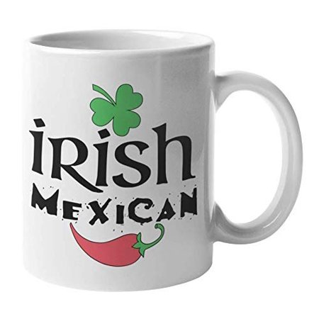 Irish Mexican With Shamrock & Hot Pepper Ceramic Coffee & Tea Gift Mug, Room Decor, St. Patrick's Day Favors, And Housewarming Gifts For Latino Men & Latina Women With Irish Roots