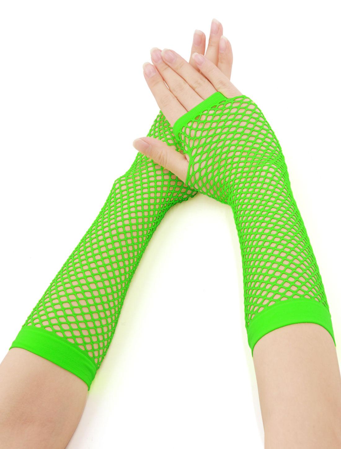 Buy 1 Get 1 Free | Women's Elbow Length Fingerless Fishnet Gloves Green