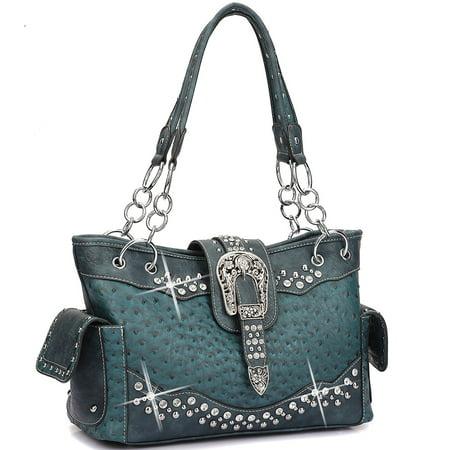 (Dasein  Western Style Ostrich Rhinestone Buckle Shoulder Handbag)