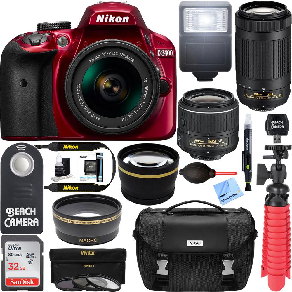 Nikon D3400 24.2 MP DSLR Camera + AF-P DX 18-55mm & 70-300mm NIKKOR Zoom Lens Kit + 32GB Memory Bundle + Nikon Bag + Wide Angle Lens + 2x Telephoto Lens + Flash + Remote +Tripod+Filters (Black)