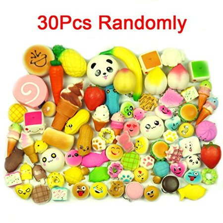 Food Novelties - LIGONG 30PCS Random Kawaii Mini Soft Bread Donuts Food Phone Straps Squishy Charm Gift Miniature Novelty Toys
