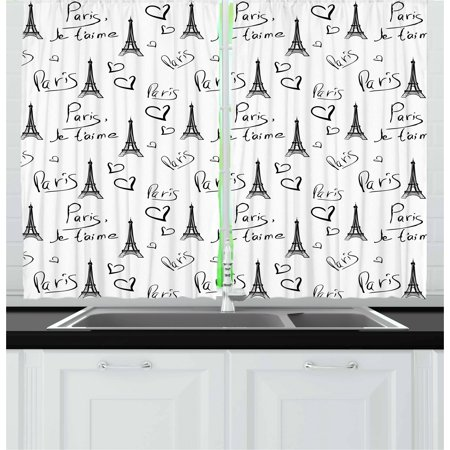 European Living Room - Paris Curtains 2 Panels Set, World Capital City of Love French European Hand Drawn Sketch Eiffel Illustration, Window Drapes for Living Room Bedroom, 55W X 39L Inches, Black White, by Ambesonne
