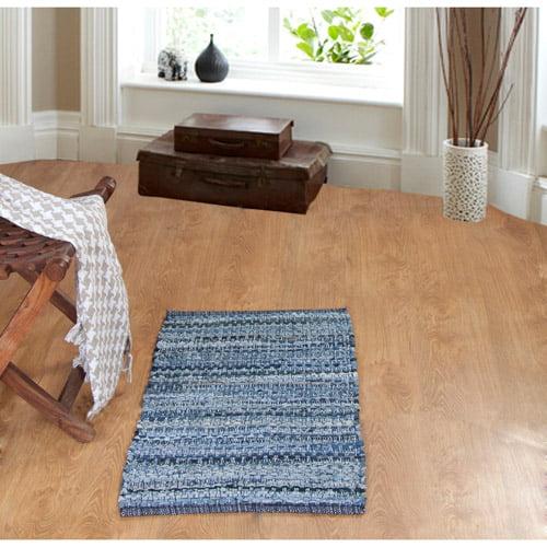 "Denim Chindi Rag Rug: Better Homes And Gardens Chindi Rug, Denim, 1'8"" X 1'6"