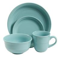 Deals on Mainstays Aqua Rainforest 16-Piece Round Dinnerware Set