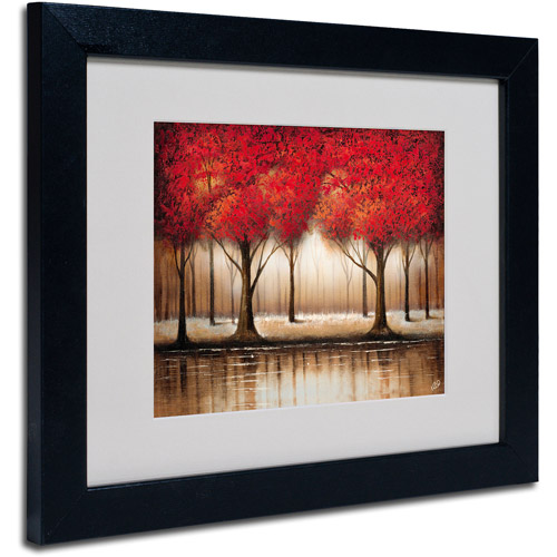 "Trademark Fine Art ""Parade of Red Trees"" Matted Framed Art by Rio"