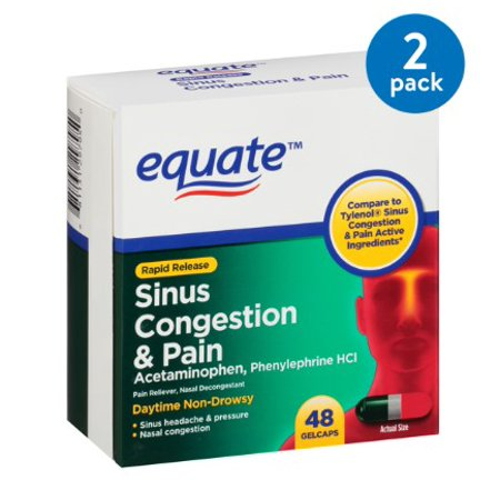(2 Pack) Equate Sinus Congestion & Pain Acetaminophen Rapid Release Gelcaps, 325 mg, 48 (Best Medicine For Sinus Congestion)