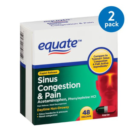 (2 Pack) Equate Sinus Congestion & Pain Acetaminophen Rapid Release Gelcaps, 325 mg, 48