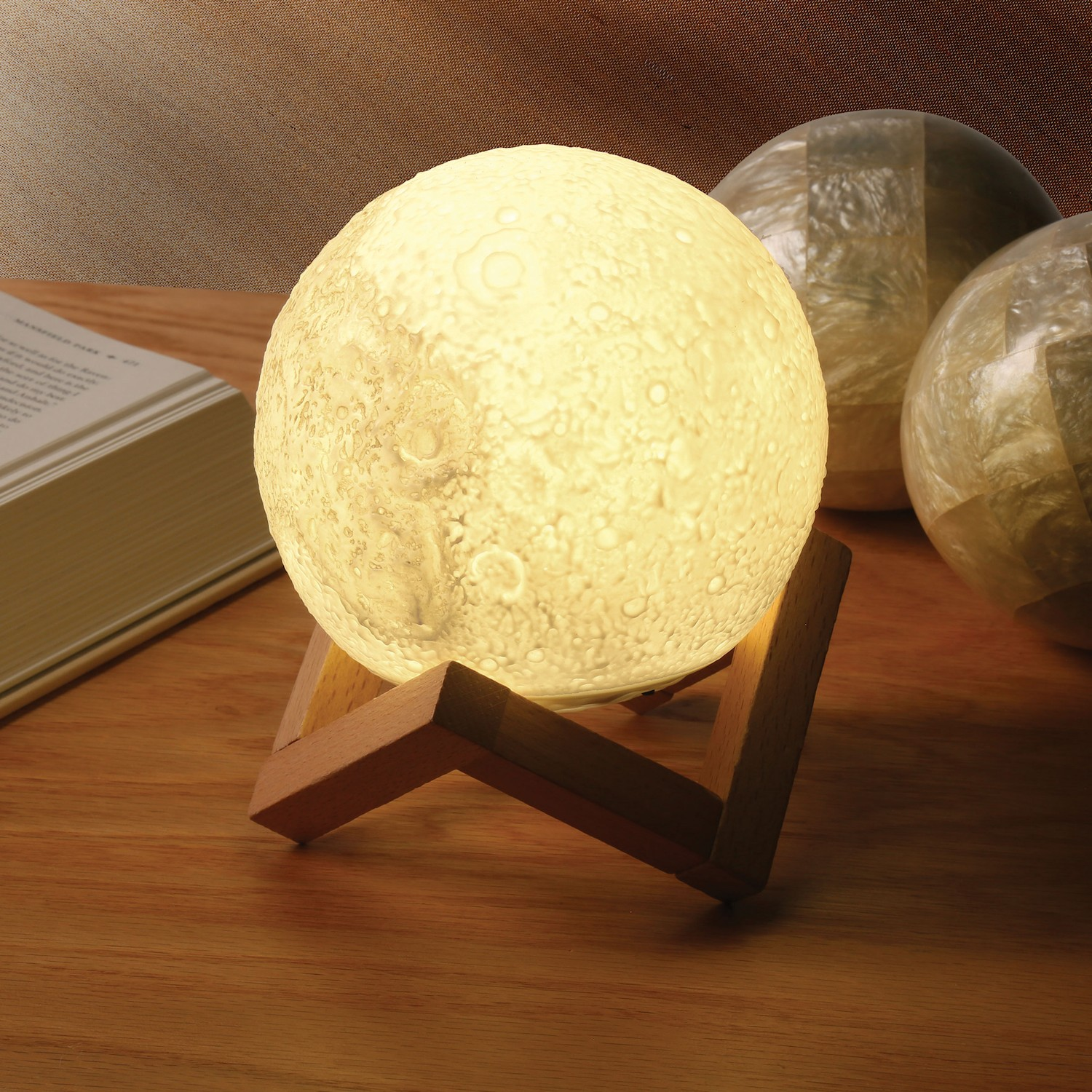 Moon Accent Lamp With Wood Base - Realistic Design Indoor Lighting