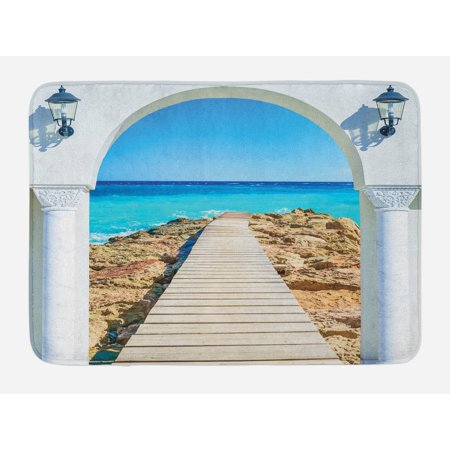 Coastal Bath Mat, View from an Open Window Curve on the Sea with a Quay Wooden Coastline, Non-Slip Plush Mat Bathroom Kitchen Laundry Room Decor, 29.5 X 17.5 Inches, Pearl Aqua Blue Cream, Ambesonne (Pearl Cream From China)