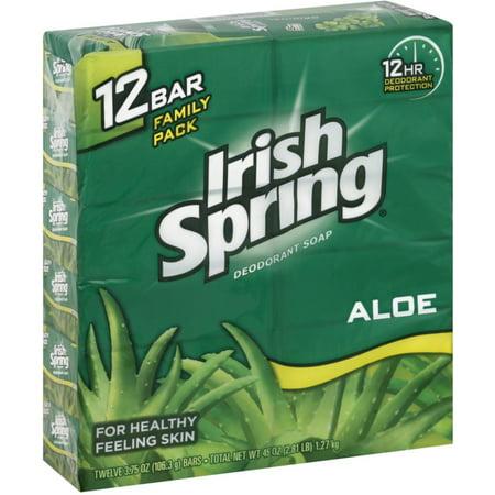 Spring Ale - 3 Pack - Irish Spring Deodorant Soap, Aloe 3.75 oz, 12 ea