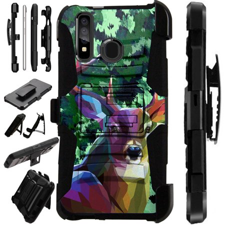 Compatible Samsung Galaxy A50 (2019) Case Armor Hybrid Phone Cover LuxGuard Holster (Deer