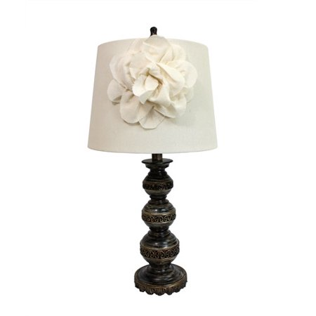 (Elegant Designs Aged Bronze Stacked Ball Lamp with Couture Linen Flower Shade)